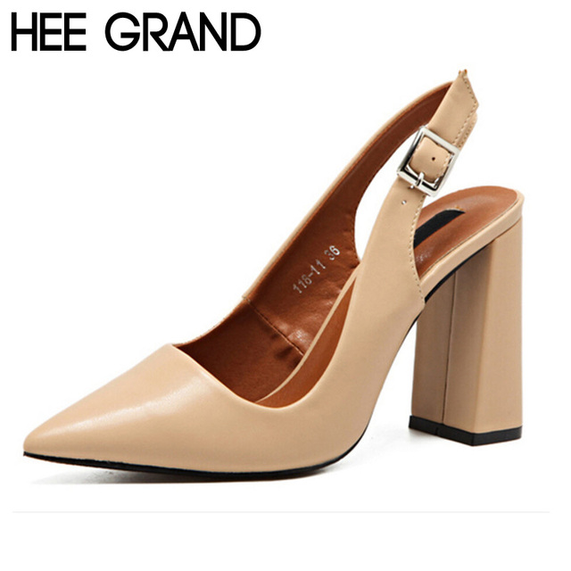 HEE GRAND Fashion Summer Pumps Buckle Elegant Party Square High Heels Sandals Pointed Toe Slingbacks Shoes Woman XWZ3419