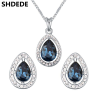 Fashion Jewelry Set 2017 Water Drop Crystal from Swarovski Elements Exquisite Necklace Earrings Sets For Women Gift 18246