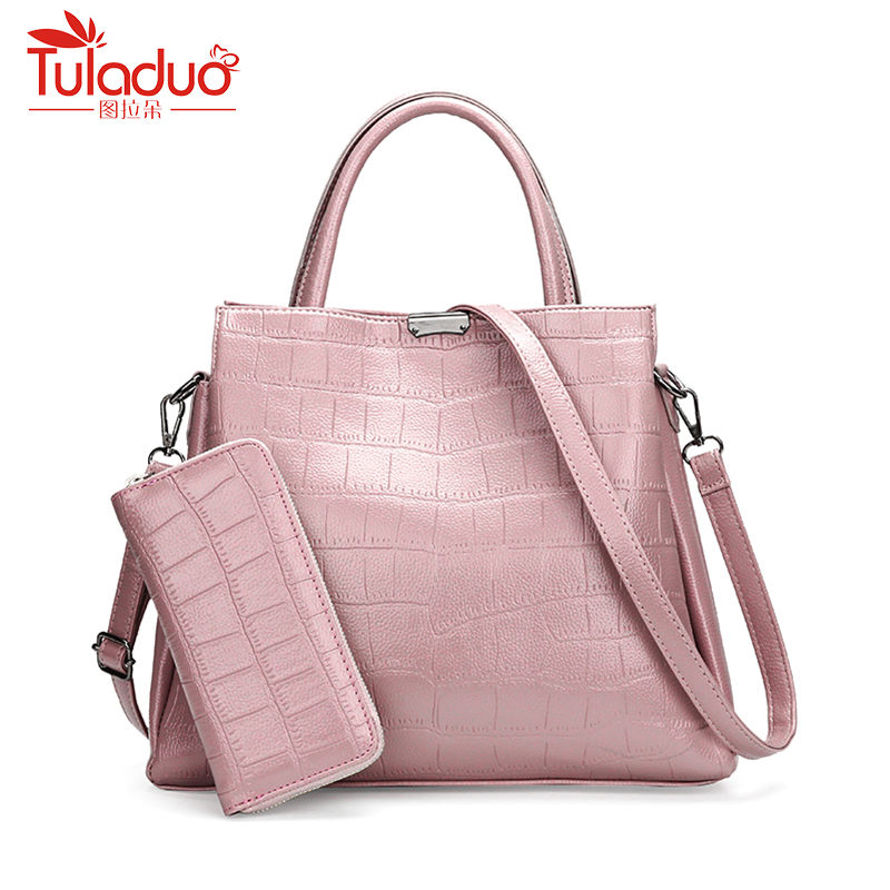 High Quality 2pcs Set PU Leather Women Tote Bag Small Flap Handbag Bags Vintange Women Messenger Bag Alligator Bags Sac A Main women bag set high quality tote bag