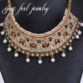 2017 New India Maxi Choker Necklace Lace Crystal&Pearls Earring Mix Colour 2PC Jewelry Hollow Design Tassels Statement Jewelry