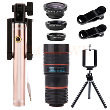 Best price With Clips Tripod 8X Telephoto Zoom Lenses Telescope Fisheye Wide Angle Macro lens Selfie Stick For Smartphone Cell Phone Lentes