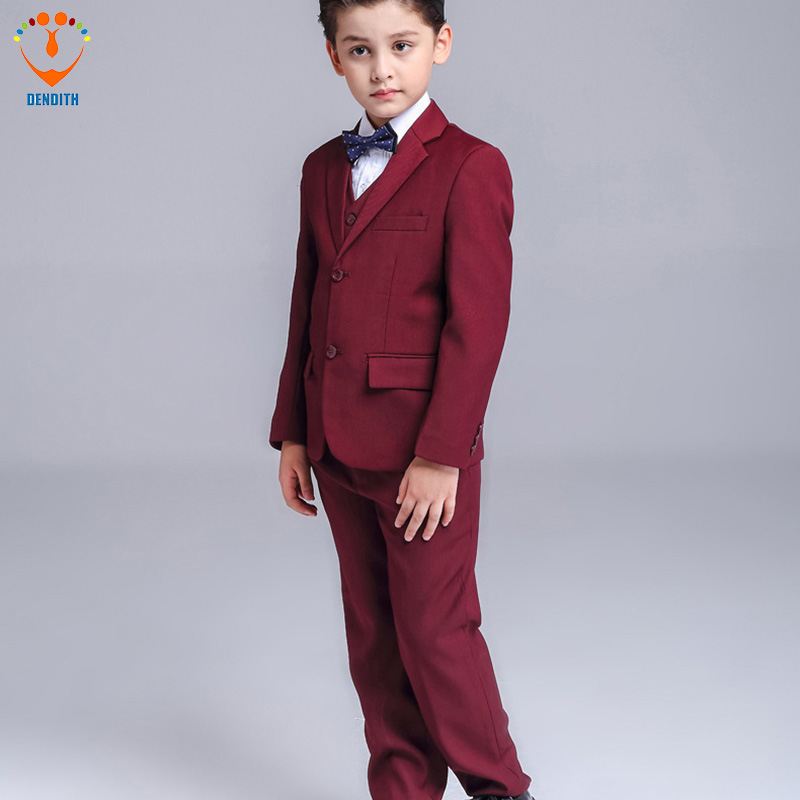 5 Pcs/Set Fashion baby Boy Wedding Suit Gentle Baby Boys Vest Shirt Pants Formal Party Suit color red Childre Clothing Set winter children boys formal sets 5 pcs woolen blend coat pants vest shirt tie costume wedding birthday party gentleman boy suit