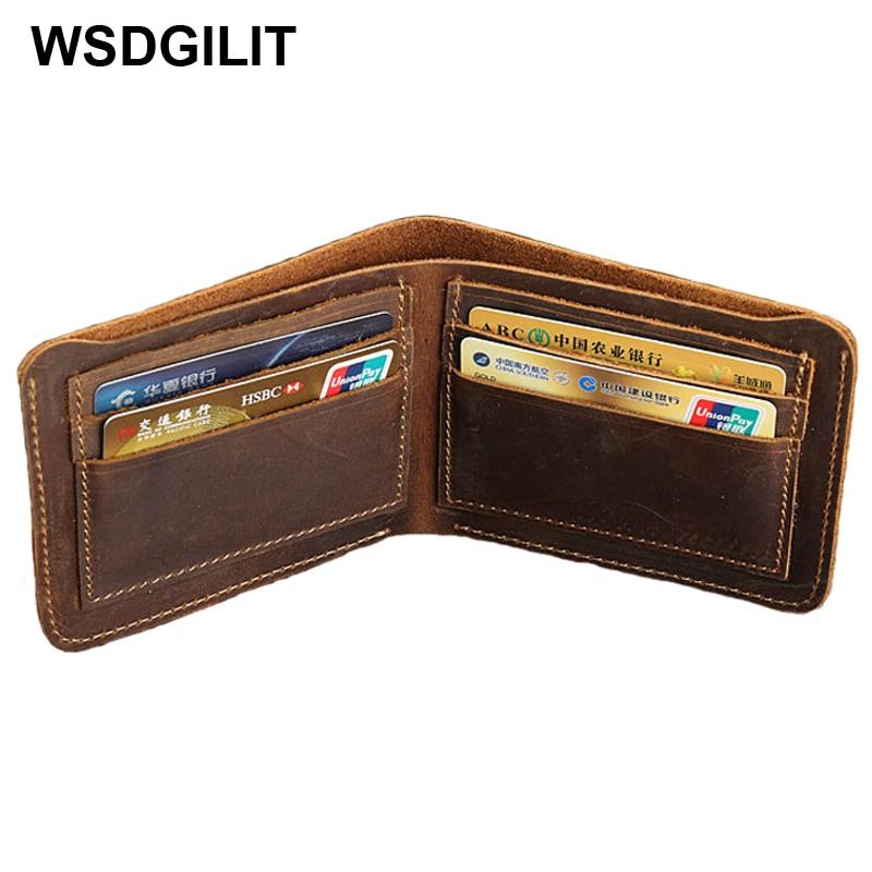 Men Women Crazy Horse Leather Bus Credit Card Set Small Mini Slim Wallet