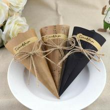 100 Uds nota papel cono de papel Kraft clásico regalo papel de envolver creativo ramo de cono diy hecho a mano embalaje de flores