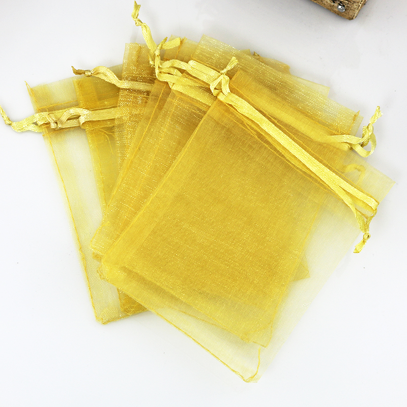 100Pcs 15cmx20cm Gold Plain Organza Gift Bags Wedding Christmas Favor For Jewelry Packaging Can Customized Logo Gift Bags in Jewelry Packaging Display from Jewelry Accessories