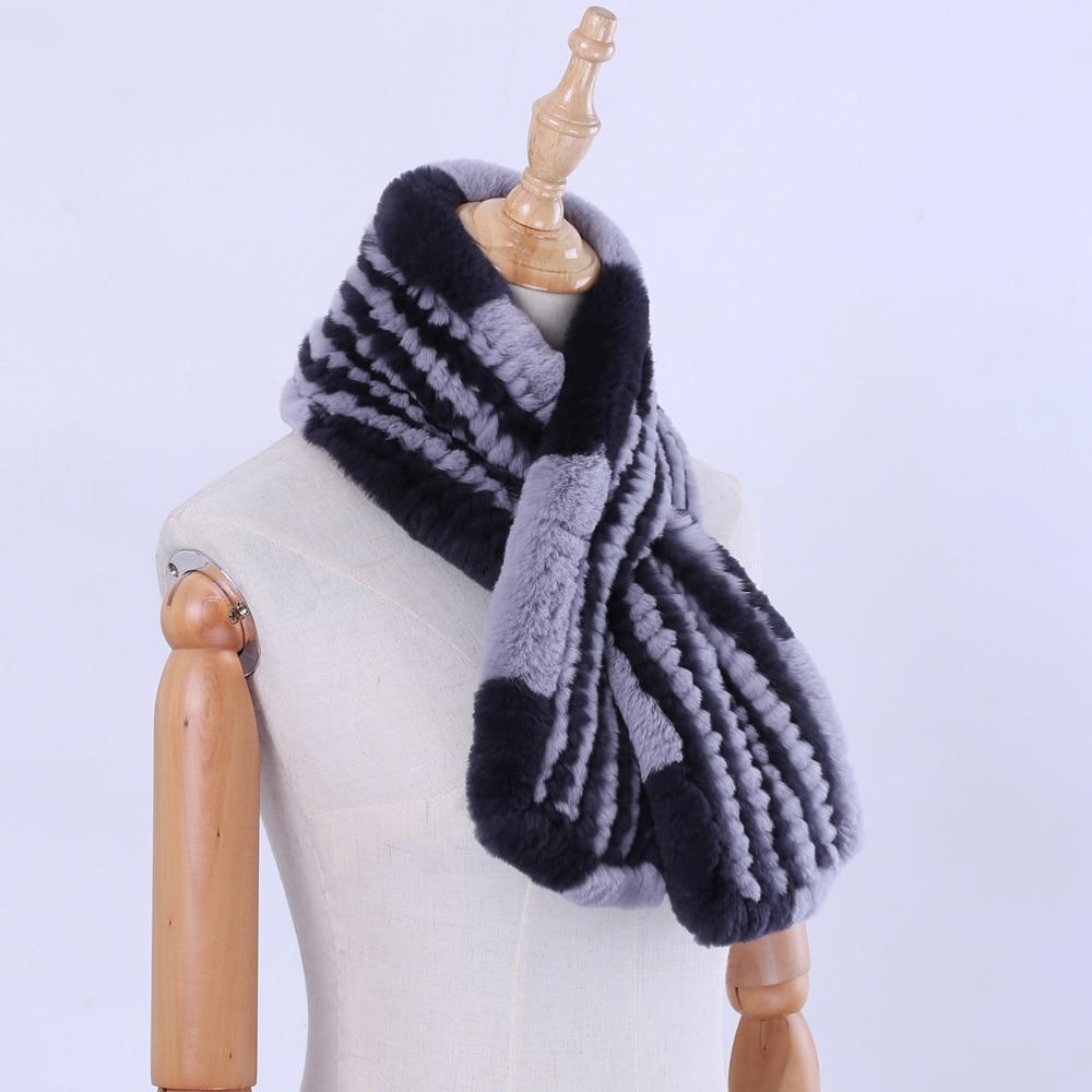 2019 New Real Rex Rabbit Fur Knitted Women's Winter Warm   Scarf     Scarves     Wraps   Russia Neck Warmer Fashion Mufflers Neckerchief