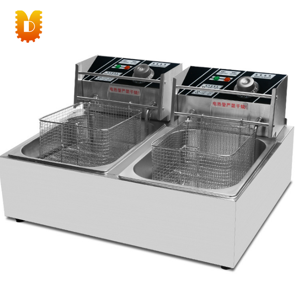 UDDZL-12 electrical twin-tank frying oven fryer for chicken/meat цена