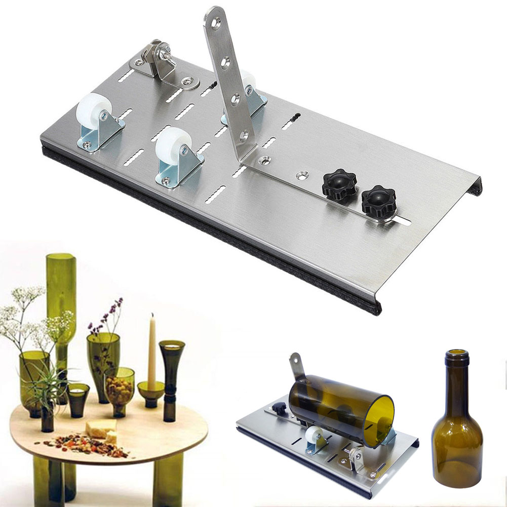 Stainless Steel Glass Cutting Adjustable Wine Bottle Cutter Machine Jar DIY Craft Recycle Tool CLH@8 все цены