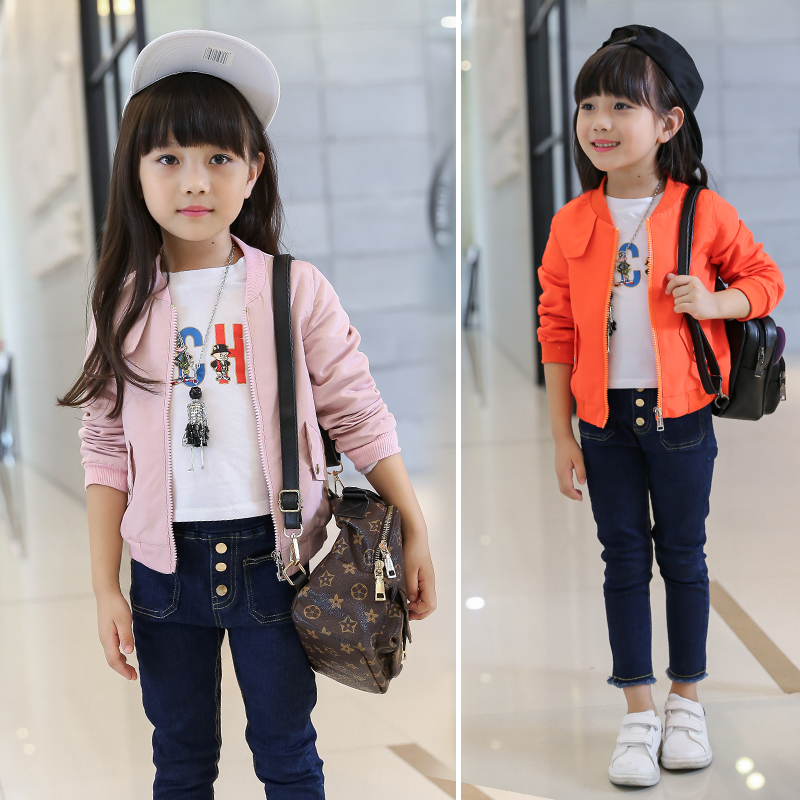 New children s clothing girl fall clothing leisure children pure color orange pink blue jacket children