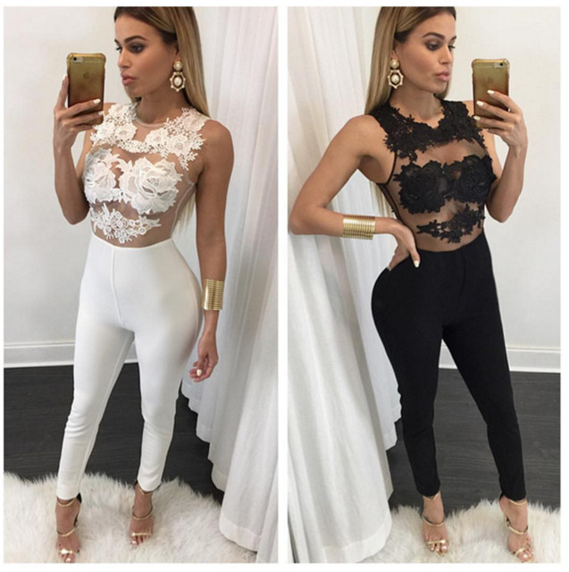 9325cf8fe55 New Fashion Nightclub Sexy Rompers Women Jumpsuit Bandage Bodysuits  sleeveless Lace Jumpsuits Bodycon overalls for women