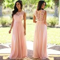2017 New Style Wedding Bridesmaid Dresses Long Pink Chiffon A Line Floor Length Elegant Women Lace Wedding Party Dresses