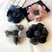 Korea New Handmade Modern Yarn Flower Rhinestone Brooches Pins Badges Fashion Jewelry For Woman Accessories-YHGWBH005F