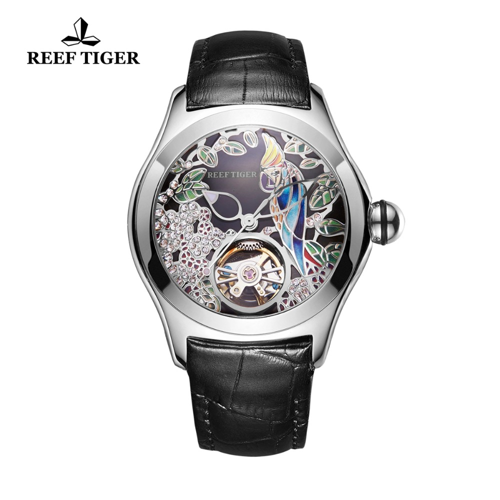 2020 Reef Tiger/RT Top Brand Fashion Watches For Women Automatic Tourbillon Watches Leather Band Steel Watch RGA7105