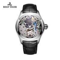 2020 rafa Tiger/RT Top marka modne zegarki dla kobiet automatyczne Tourbillon zegarki skórzany pasek zegarek ze stali RGA7105 w Zegarki damskie od Zegarki na