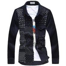 Männer freizeit langärmelige hemden von hoher qualität cord druck herbst 2017 business casual hemdkragen