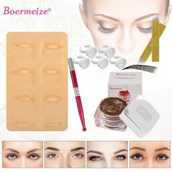 Tattoo Kit Permanent Makeup Eyebrow Microblading Kit 3D Practice Skin Ink Ring Cup Manual Pen Beauty Kit Set Beginners Tools