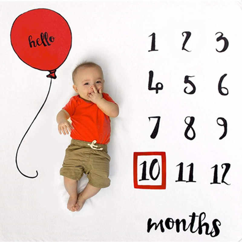 Bonito meninos meninas recém-nascidos foto adereços cobre bebê crescimento mensal marco cobertor balão fotografia pano de fundo
