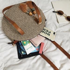 Image 5 - 2019 yuvarlak püskül yeni hasır çanta çanta kadın yaz kamış örgü çanta el yapımı dokuma plaj daire Bohemia çanta yeni moda