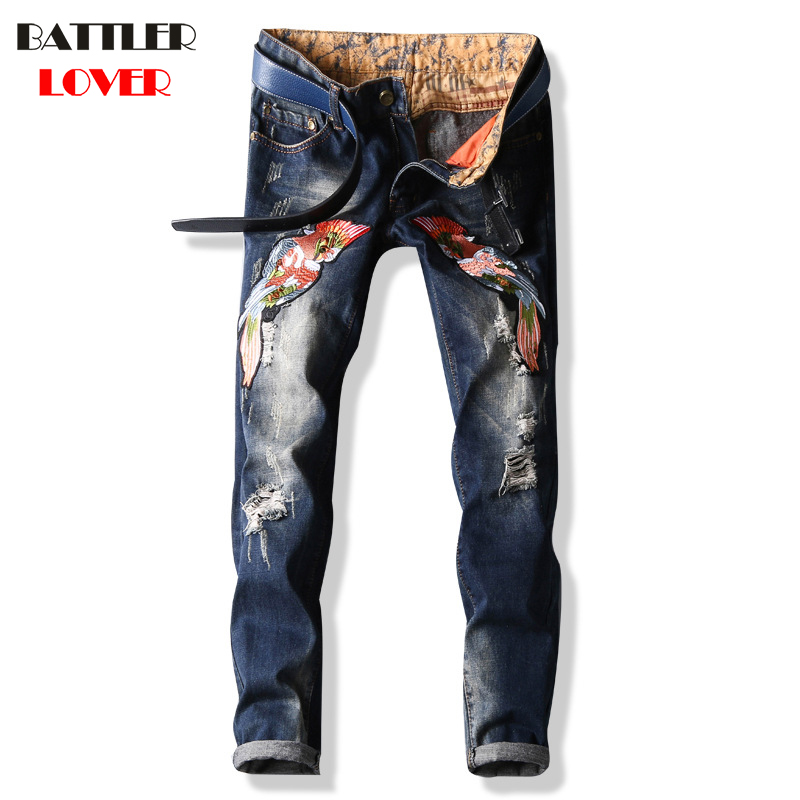 Fish Embroidery Jeans Men Fear of God Biker Jeans Cotton Trousers Mens Hip Hop Ripped Jeans Pant Male Casual Luxury Brand Pants men jeans fear of god ripped blue mens holes leisure straight denim designer mens jeans streetwear clothing pant oversize 28 40