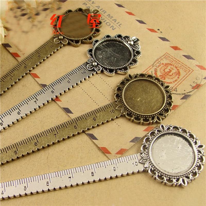 5pcs/lot Antique Bronze Vintage Metal Ruler Bookmark Cabochon Base Bookmark Setting Fits 20mm Cabochon Cameo DIY Bookmarks