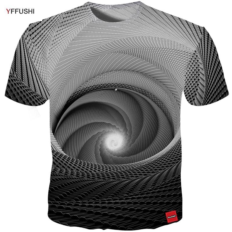 YFFUSHI 2018 남성 3D 짧은 소매 티셔츠 독특한 3D 비전 - 남성 의류