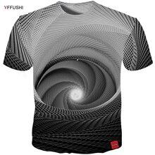 YFFUSHI 2018 Vyras 3d Trumpas rankovių marškinėliai Unikalus 3D matymas Swirl Line Vasarinės Cool T marškinėliai Laisvas Hip Hop Plaid Tees Plus Size 5X