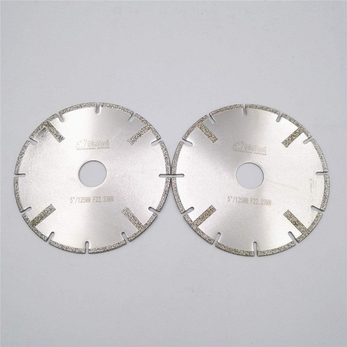 DIATOOL 2pcs 125mm Electroplated Reinforced Diamond Cutting Disc 5 Inches Marble Blade With Bore 22.23mm