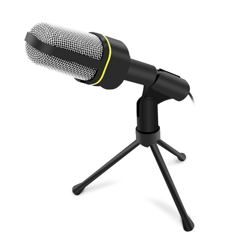 Black 3.5mm Studio Microphone Mic with Desktop Stand for PC Computer Laptop
