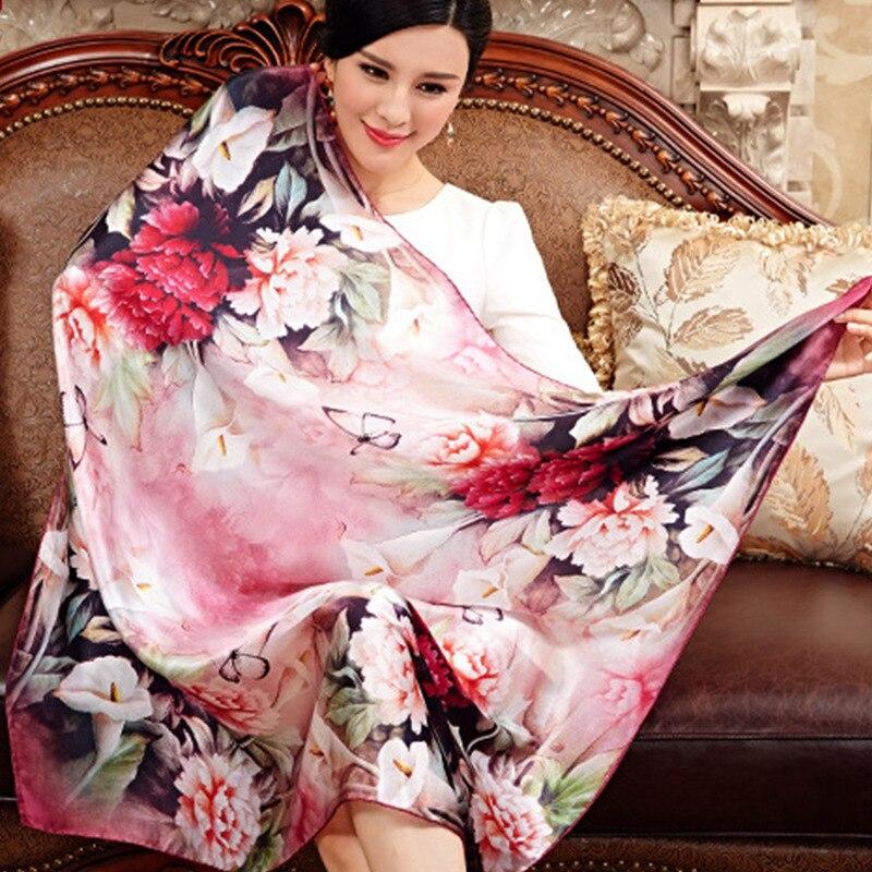 100% כיכר גדולה צעיף צעיפי משי תות משי טבעי אמיתי נשים מכירה חמה מודפסים צעיפים פרחוניים אופנה צעיף 110*110 ס