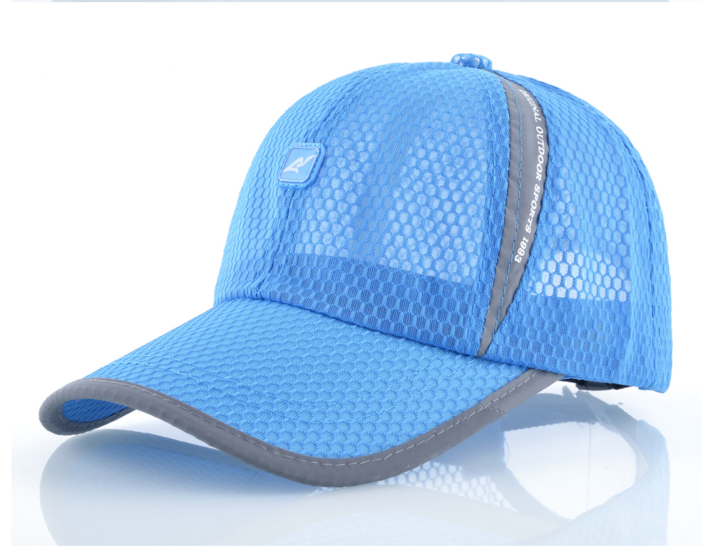 Open Mesh Breathable Baseball Cap - Sky Blue Cap Front Angle Detail View