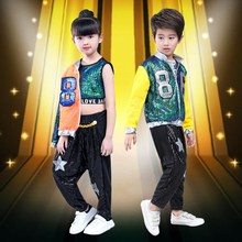 New High Quality 2019 Children's Jazz Costumes Long-sleeved Street Dance Hip-hop Group Dance Performance Clothing Suit(China)