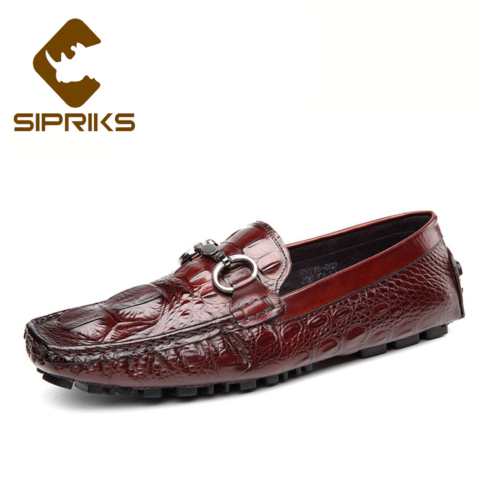 Sipriks Big Size 37 45 Burgundy Dress Leather Shoes Mens Printed Crocodile Skin Oxfords Grooms Wedding Shoes Gents Suit Shoes Buy One Give One Shoes