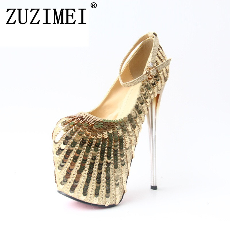 Women Pumps Platform 2018 New Arrival Fashion High Heel Shoes Sexy High Heels gold color Pumps Party Shoes plus size 34-43