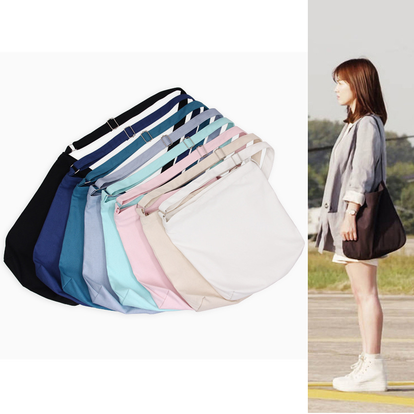YILE Handmade Cotton Canvas Solid Color Blank For Logo Cross Body Strap Messenger Bag Preppy Style Y268