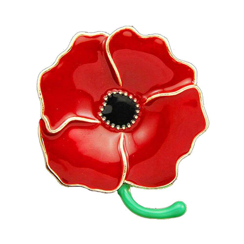 100PCS Poppy Pin Badges Brooches Enamel Engraved Four Petals Hero Remembranc Red Flower Badges Banquet Lapel Pin Brooch star lapel pin
