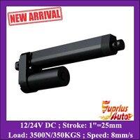 High Quality 25mm Mini Stroke 3500N 350KGS Heavy Load 8mm S Speed 12V DC Black Linear