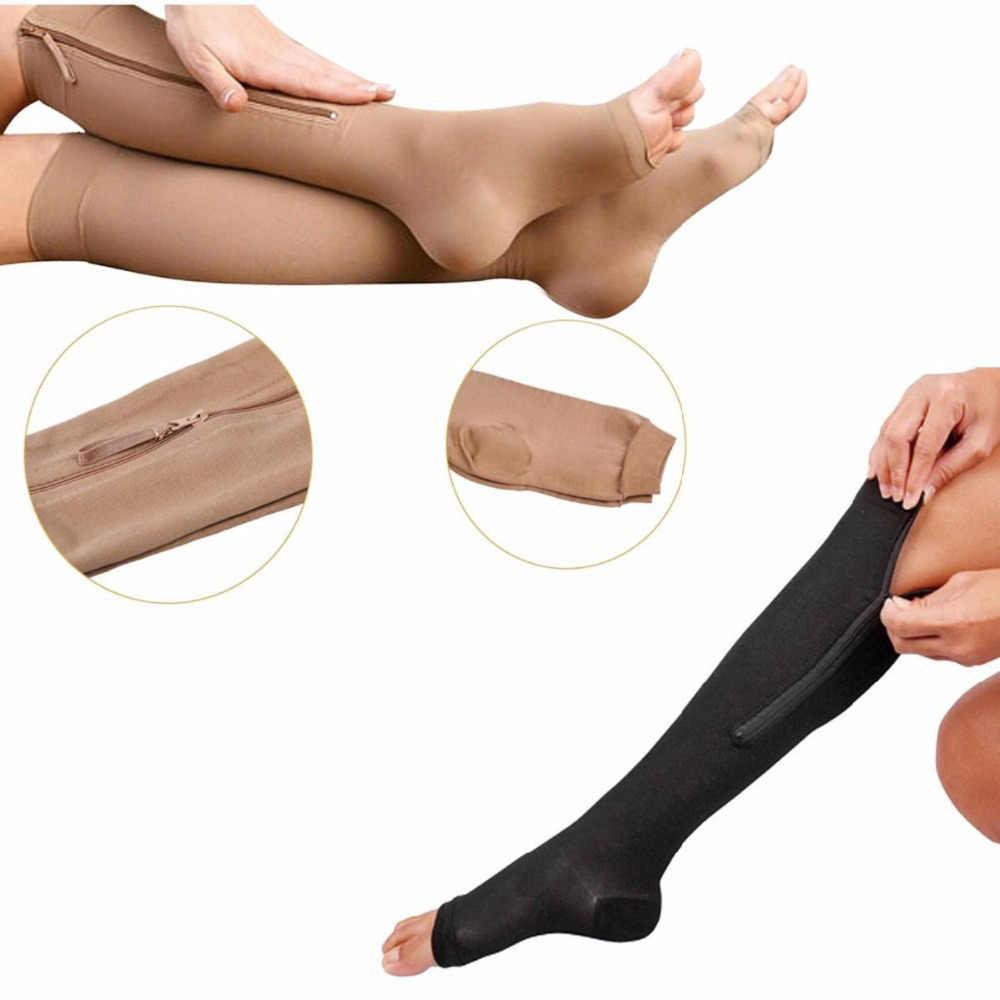 df979b69c9b824 1Pair Nylon Zipper Compression Sock Leg Knee Support Open Toe Sox  Preventing Varicose Veins Stretch Slim