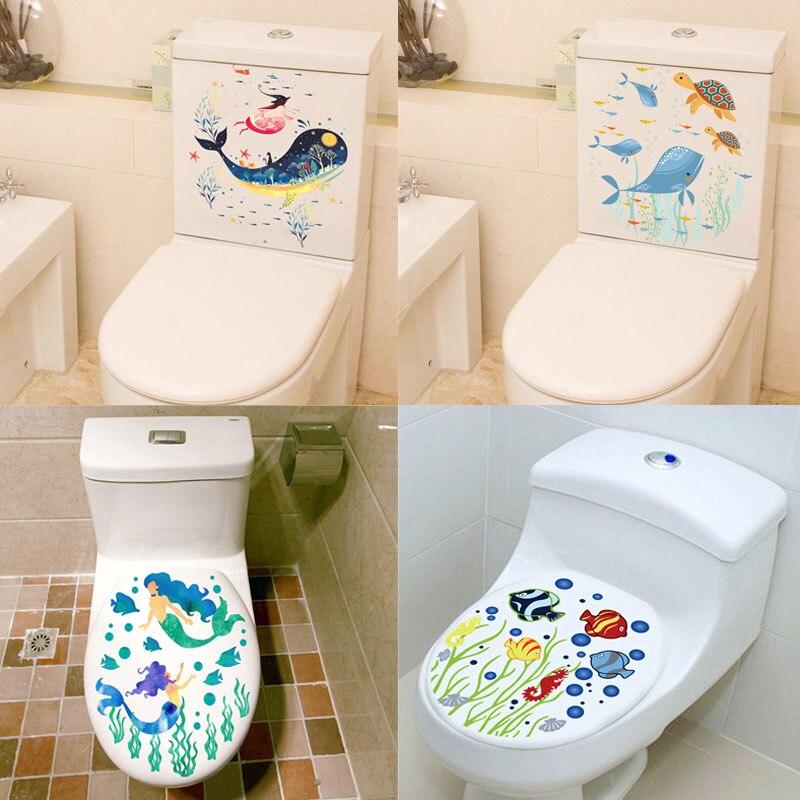 Sealife poissons siège de toilette autocollants décoration de la maison fleurs bricolage sous-marin paysage Mural Art salle de bains 3d vue Pvc sticker Mural