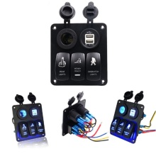 Waterproof Car  LED 3 Rocker Switch Power Charger Usb Sockets Panel Circuit Breakers Auto Boat Marine