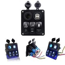 Waterproof Car  LED 3 Rocker Switch Power Charger Usb Sockets Panel Circuit Breakers Auto Boat Marine