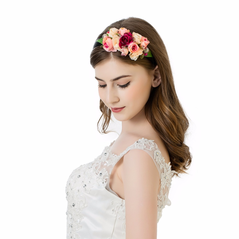 Awaytr 2017 bohemia girls red flower crown new wedding flower girl awaytr 2017 bohemia girls red flower crown new wedding flower girl hairband brand double layer flower hairband head band in hair accessories from mother izmirmasajfo Images
