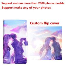 DIY Phone bag Personalized custom photo Picture PU leather case flip cover for Samsung S5 S6 S7 edge S8 Plus NOTE 3 4 5