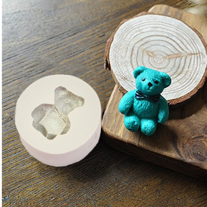 1PC Small Bear Sugar Buttons Silicone Mold Fondant Mold Cake Decorating Tools Chocolate Gumpaste Mold