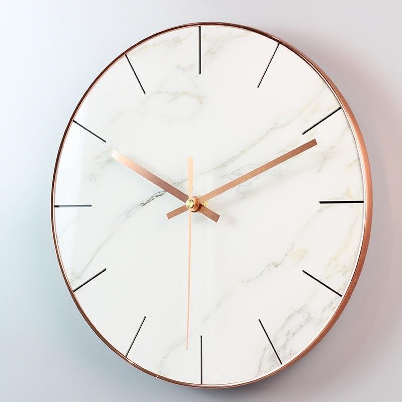 Simple modern living room Nordic marble wall clock creative home bedroom mute quartz clock clock 29CM