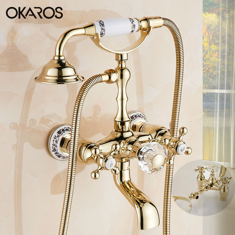 okaros wall mounted bathtub brass faucet hand shower head cristal dual handle gold euro style. Black Bedroom Furniture Sets. Home Design Ideas