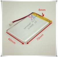 XH2.54 2800 mAh 804070 סוללת ליתיום פולימר 3.7 V מכונה הוראת צעצוע GPS טלפון נייד