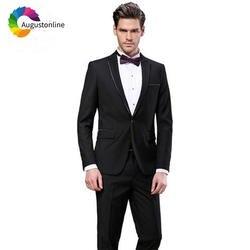 Черные мужские костюмы свадебные Slim Fit жених смокинг, деловой костюм официальная одежда 2 шт. (куртка + брюки для девочек) Best человек пиджаки