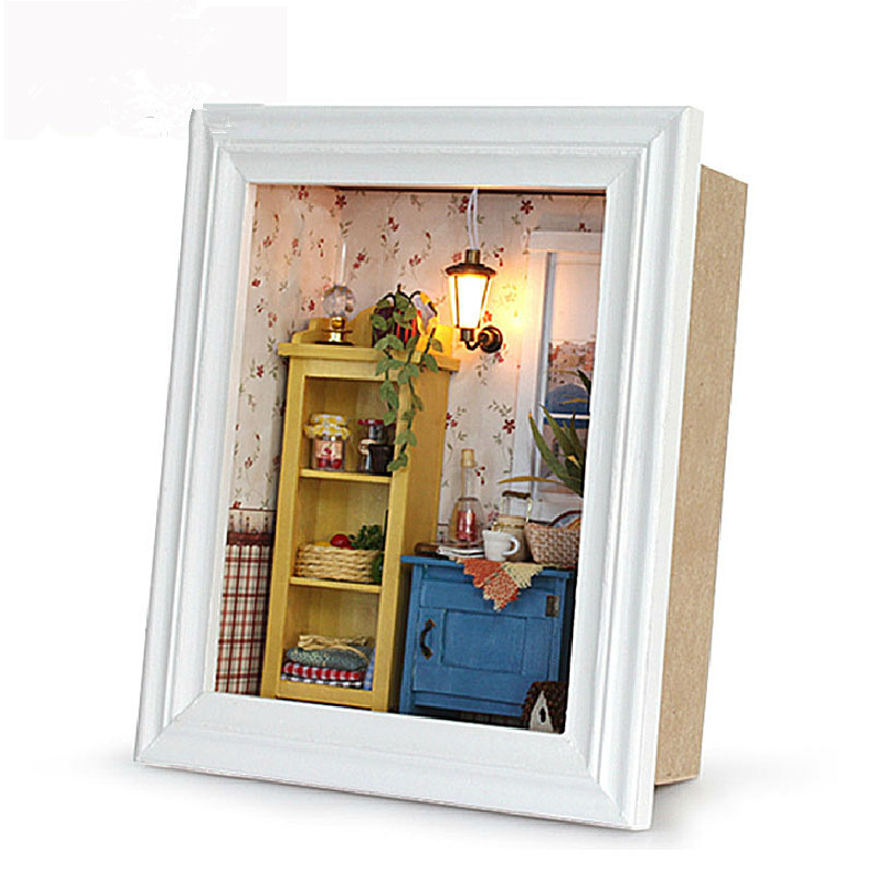 New Arrival Miniature DIY DOLLHOUSE Photo Frame Warm Dawn Wooden Furniture  Assembling Building Relax Puzzle Toys for Children 2