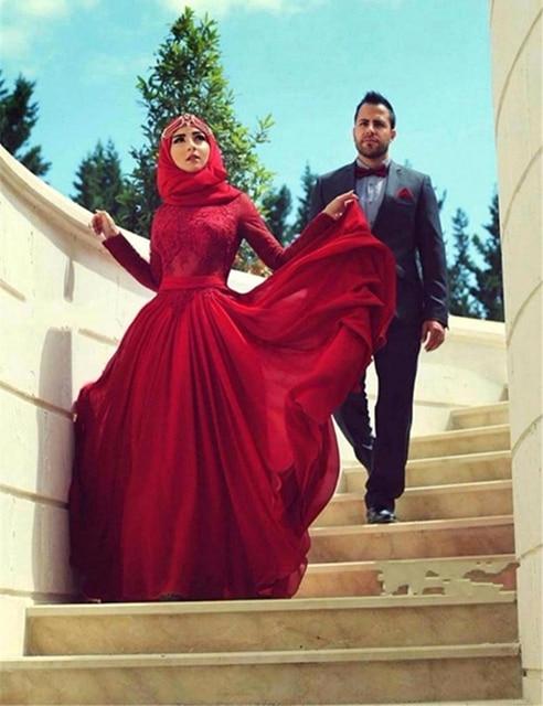 Robe de mariee rouge avec manche