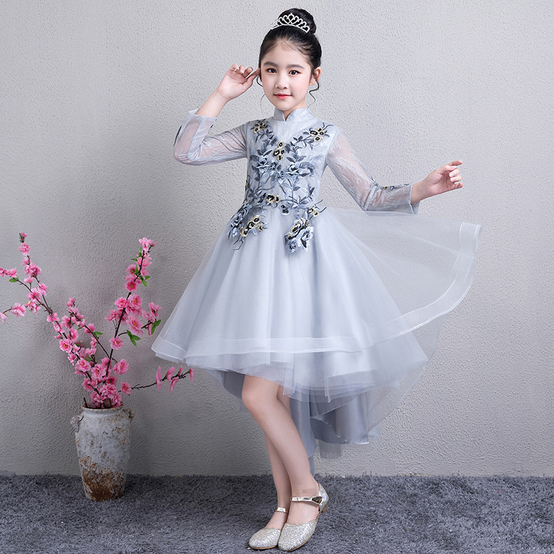 2018 Autumn children's Embroidery Princess lace dress Child girl fringe wedding birthday dress Party host mermaid dress 5-15yrs 2017 autumn designer runway style party lace women allover hollow out lace embroidery long sleeve dark blue mermaid dress festa